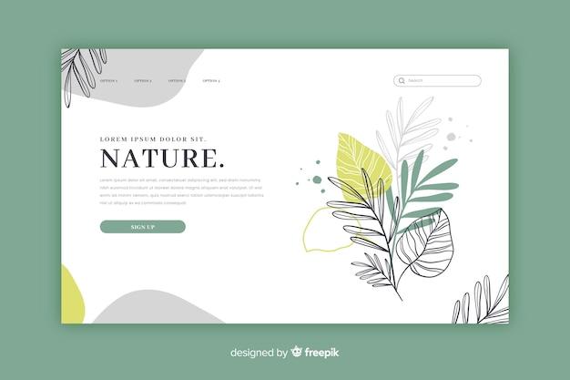 Modello di pagina di destinazione natura disegnata a mano
