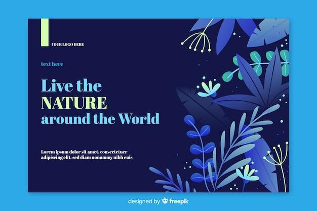 Modello di pagina di destinazione natura piatta