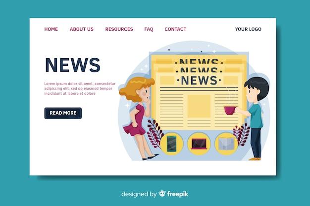 Modello di pagina di destinazione notizie piatte
