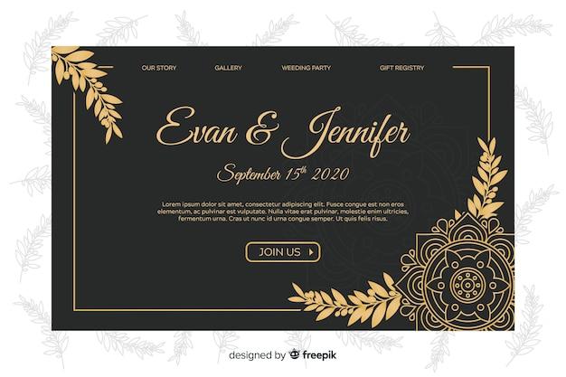 Modello di pagina di destinazione nozze d'oro elegante