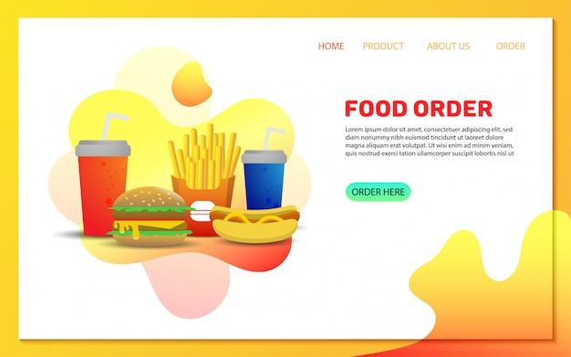 Modello di pagina di destinazione ordine di consegna cibo