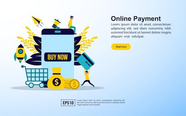 Modello di pagina di destinazione. pagamento dello shopping online