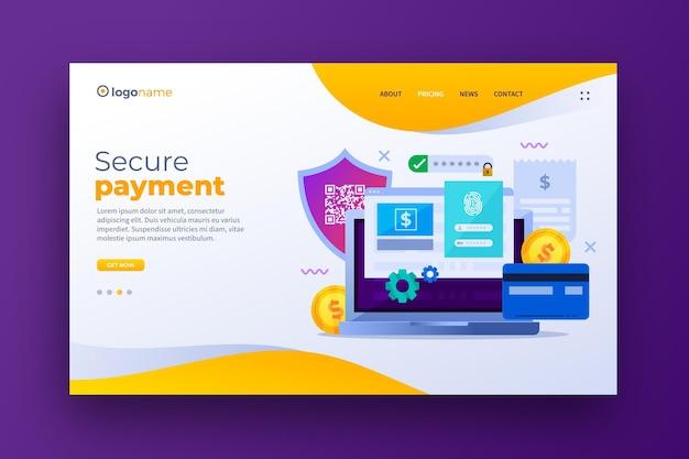 Modello di pagina di destinazione pagamento sicuro