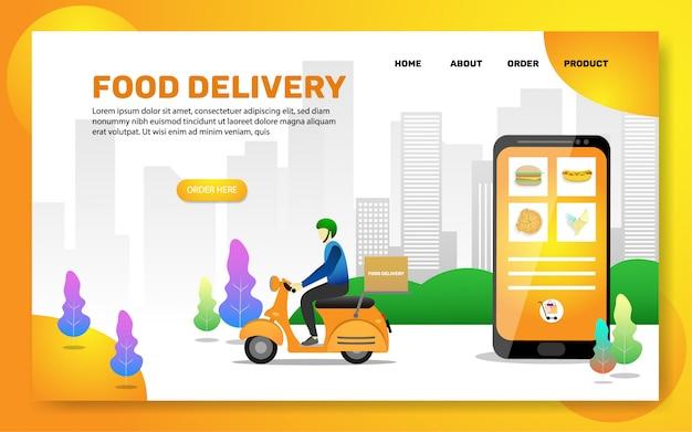 Modello di pagina di destinazione. pagina web di consegna cibo