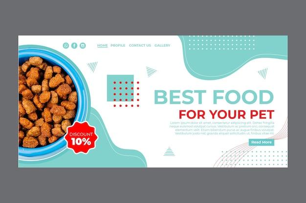 Modello di pagina di destinazione per alimenti per animali domestici con foto