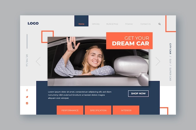 Modello di pagina di destinazione per auto shopping con donna