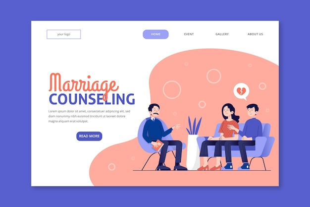 Modello di pagina di destinazione per consulenza matrimoniale