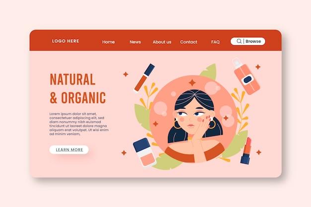 Modello di pagina di destinazione per cosmetici naturali e biologici