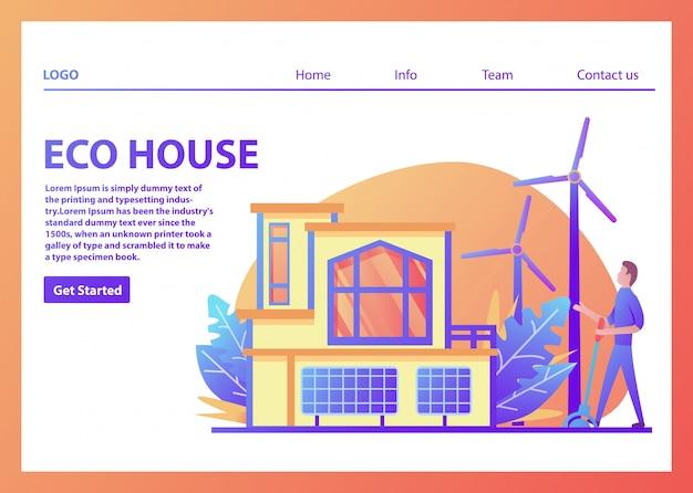 Modello di pagina di destinazione per eco house