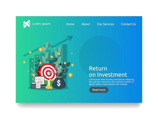 Modello di pagina di destinazione per il concetto di business degli investimenti