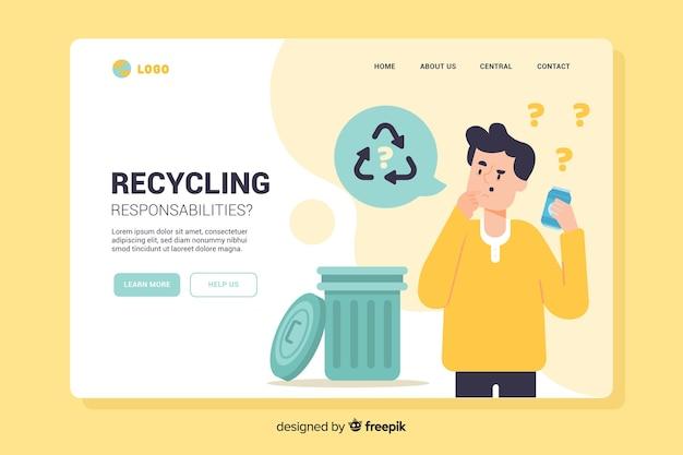 Modello di pagina di destinazione per il riciclaggio piatto
