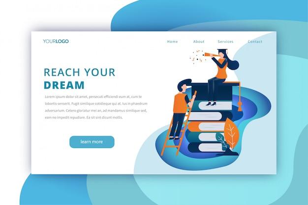 Modello di pagina di destinazione per l'istruzione con il raggiungimento del tema dei sogni
