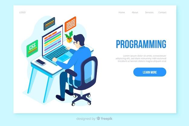 Modello di pagina di destinazione per la programmazione isometrica