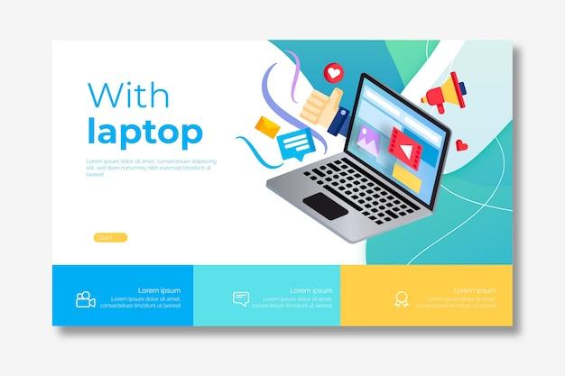 Modello di pagina di destinazione per laptop