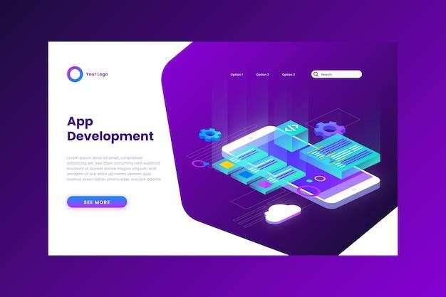 Modello di pagina di destinazione per lo sviluppo di app