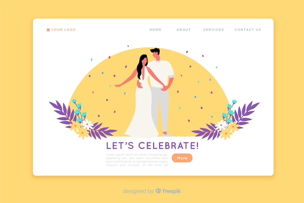 Modello di pagina di destinazione per matrimonio piatto