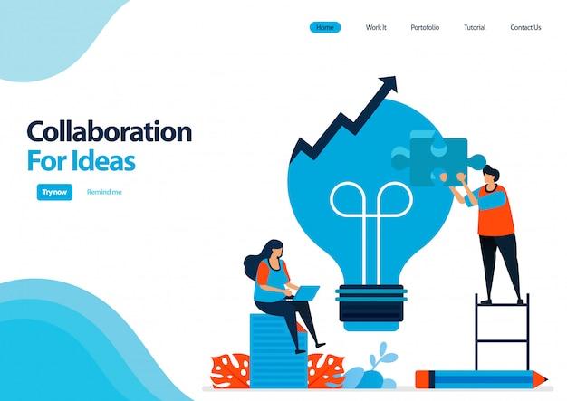 Modello di pagina di destinazione per migliorare il processo di risoluzione dei problemi con collaborazione e idee.