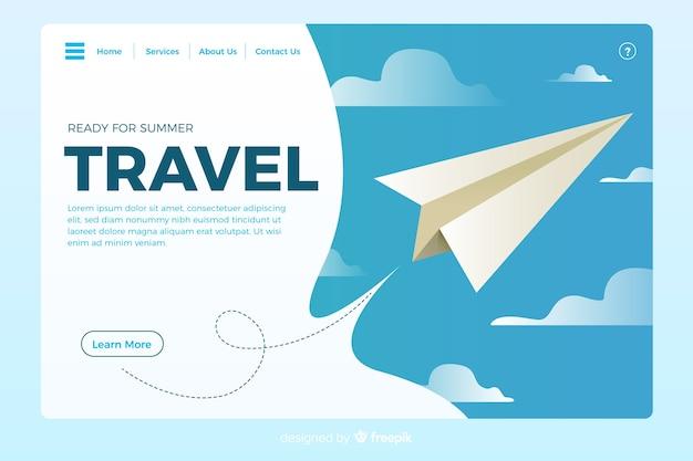 Modello di pagina di destinazione per viaggi piatti