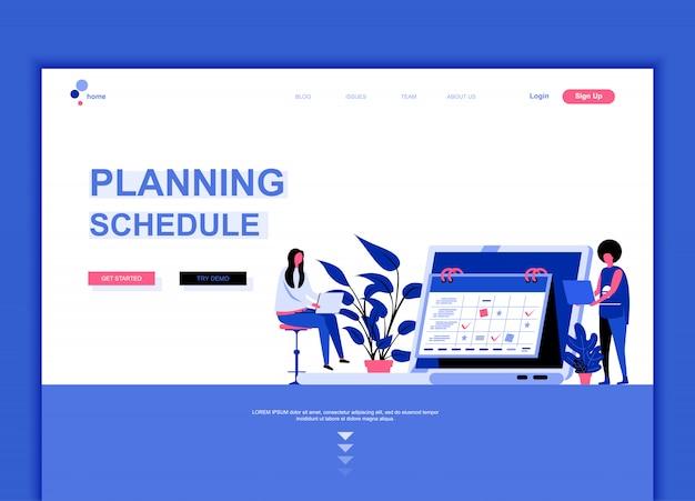 Modello di pagina di destinazione piana del programma di pianificazione