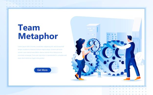 Modello di pagina di destinazione piatta della metafora del team della homepage