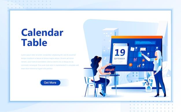 Modello di pagina di destinazione piatta della tabella del calendario della homepage