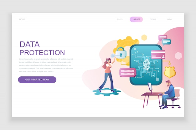 Modello di pagina di destinazione piatta di protezione dei dati