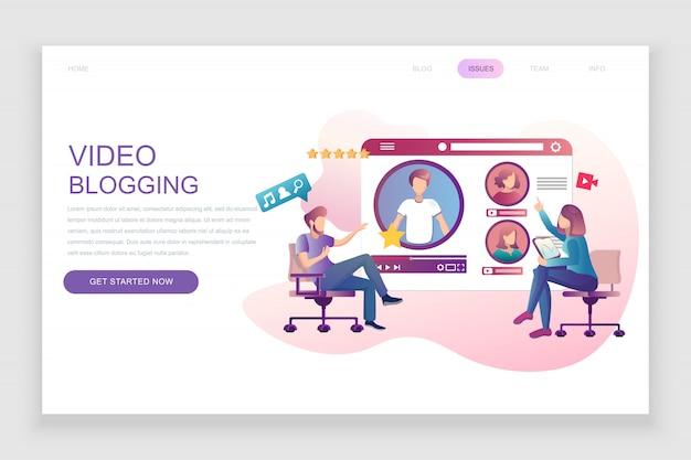 Modello di pagina di destinazione piatta di video blogging