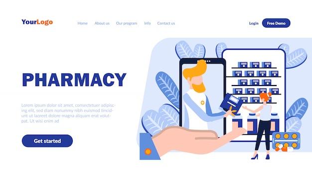 Modello di pagina di destinazione piatta farmacia con intestazione