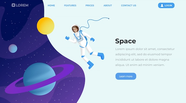 Modello di pagina di destinazione piatta per esplorazione dello spazio
