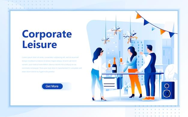 Modello di pagina di destinazione piatta per il tempo libero aziendale della homepage