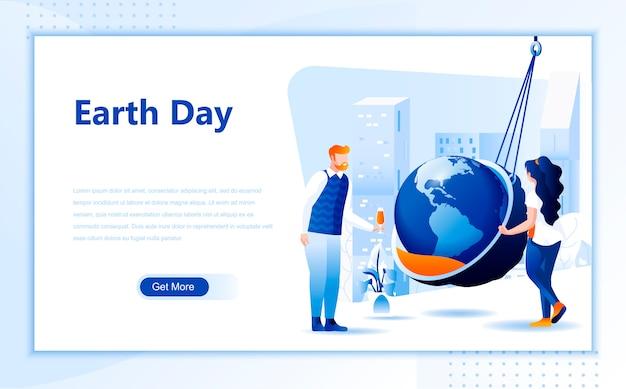 Modello di pagina di destinazione piatta per la giornata della terra della homepage