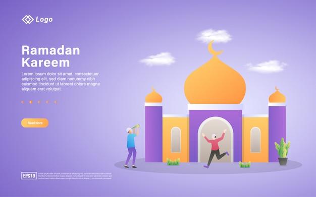 Modello di pagina di destinazione piatta ramadan kareem