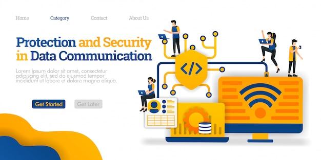Modello di pagina di destinazione. protezione e sicurezza nella comunicazione dei dati. proteggi il percorso di condivisione dei dati per la sicurezza degli utenti