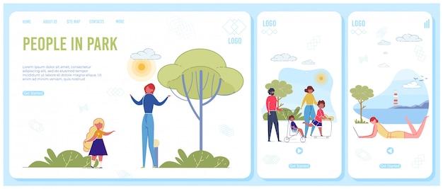 Modello di pagina di destinazione reattiva per persone nel parco