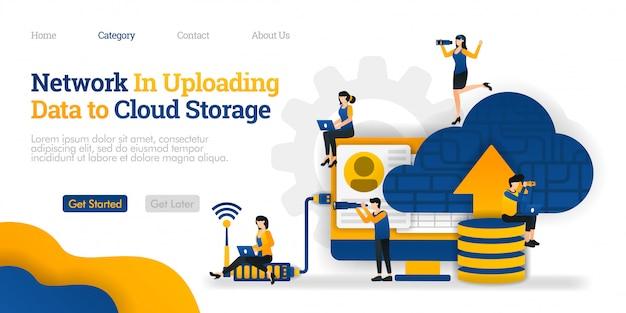 Modello di pagina di destinazione. rete nel caricamento dei dati nello storage cloud. carica i dati sul database su cloud per la condivisione