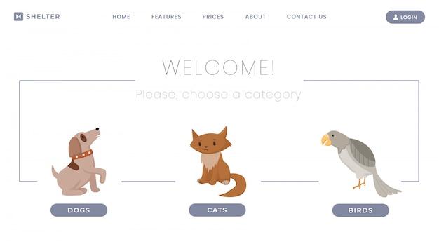 Modello di pagina di destinazione rifugio per animali. centro per l'adozione di animali domestici smarriti, cani e gatti senza tetto