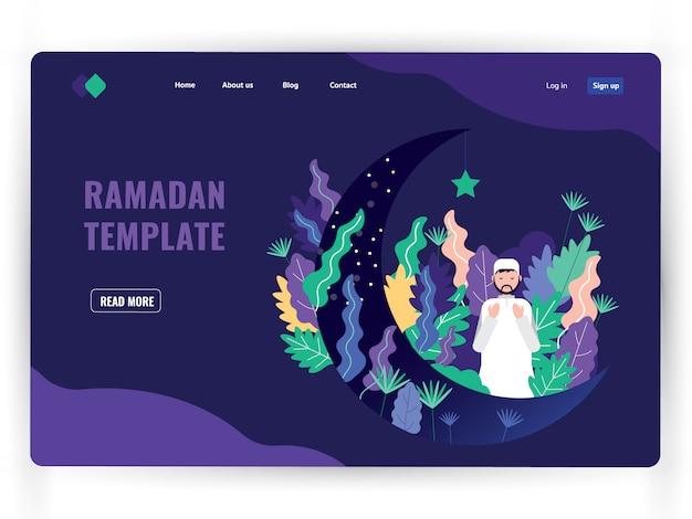 Modello di pagina di destinazione scuro del mese sacro di preghiera, ramadan kareem.