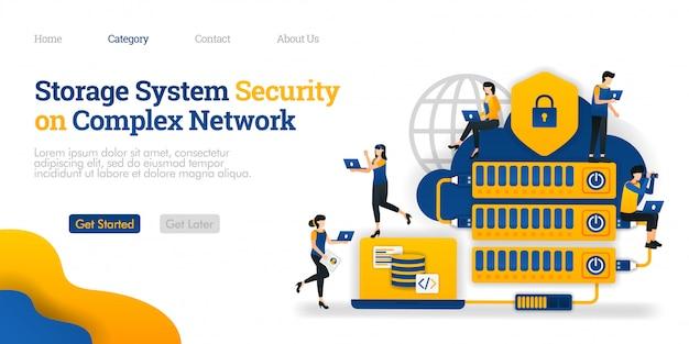 Modello di pagina di destinazione. sicurezza del sistema di archiviazione in una rete complessa. hosting reso complicato per la sicurezza dei dati
