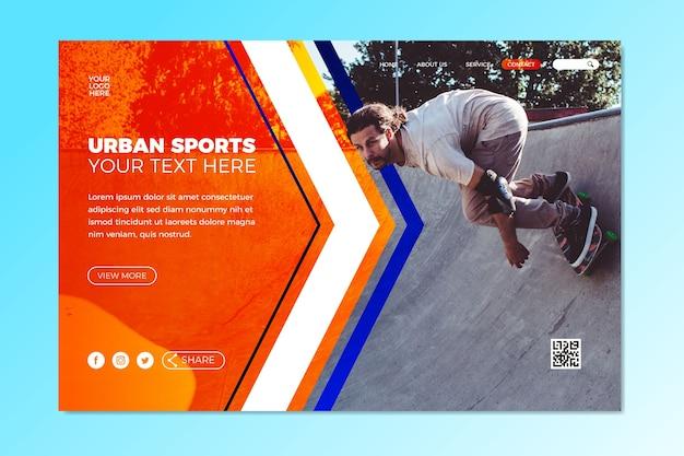 Modello di pagina di destinazione sportiva con immagine