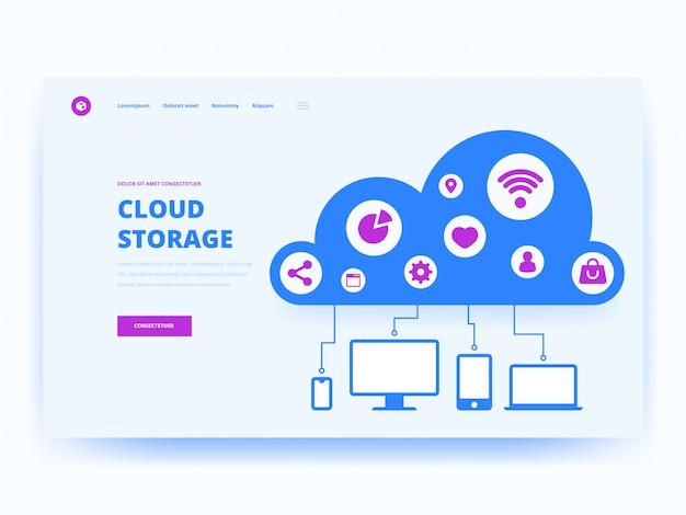 Modello di pagina di destinazione tecnologia cloud