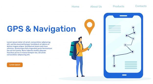 Modello di pagina di destinazione vettoriale gps e navigazione