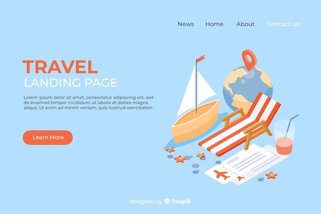 Modello di pagina di destinazione viaggio isometrica