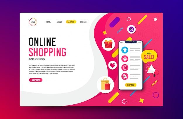 Modello di pagina di destinazione. web design per acquisti online, marketing digitale.
