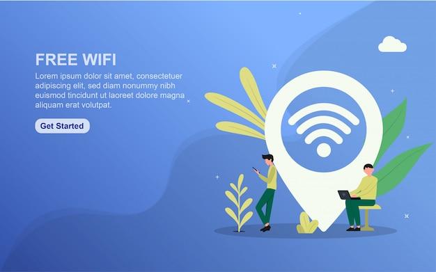 Modello di pagina di destinazione wifi gratuito.