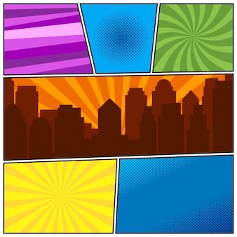 Modello di pagina di fumetti con diversi sfondi radiali e silhouette della città