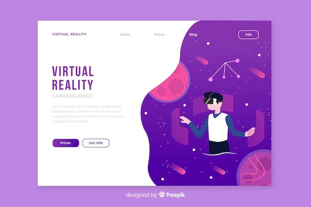 Modello di pagina di landin di realtà virtuale