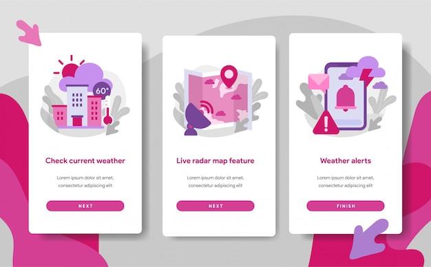 Modello di pagina schermo onboarding dell'app meteo