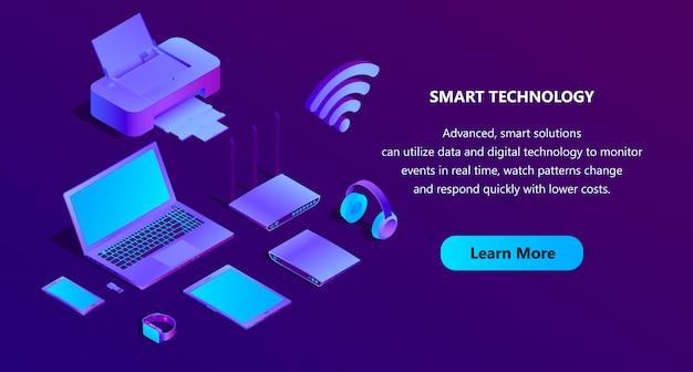 Modello di pagina web 3d isometrico ultravioletto