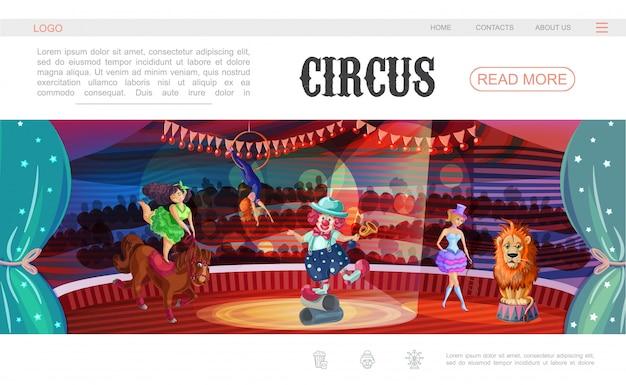 Modello di pagina web del circo del fumetto con il cavallo di leone degli istruttori dell'acrobata del pagliaccio che esegue i trucchi differenti sull'arena