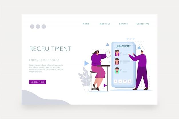 Modello di pagina web del concetto di reclutamento